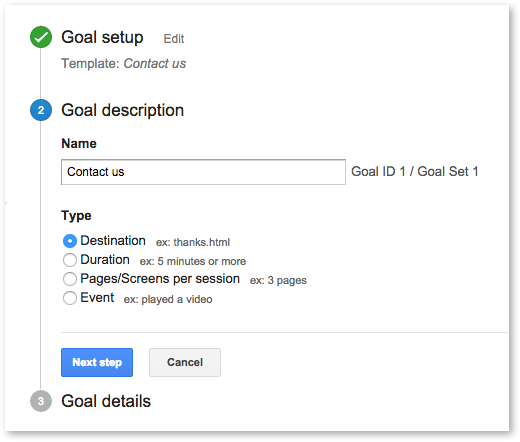 Step 2 of configuring a goal in Google Analytics