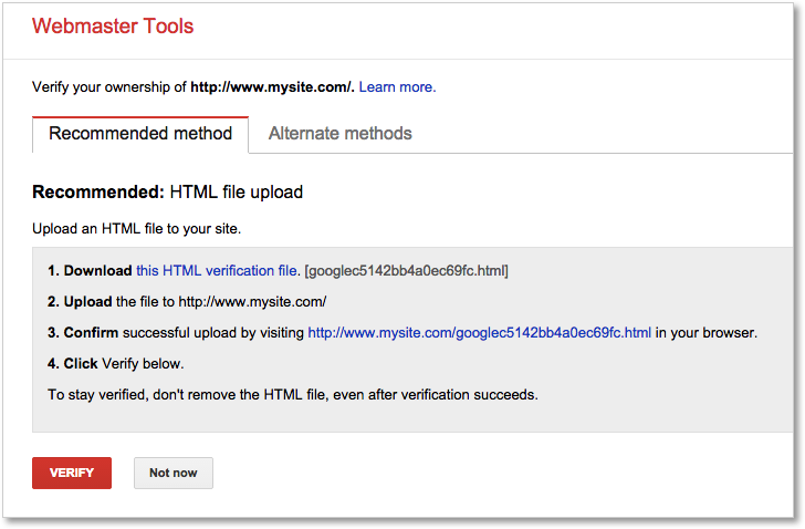 Google Webmaster Tools Recommended method to verify site ownership